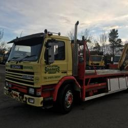 SCANIA 82M 18 TON FLAT BED WITH 14 TON METER CRANE AND DIESEL CO CRANE LORRY
